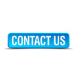 contact us blue 3d realistic square isolated vector image