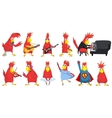 set of funny parrots music vector image