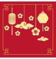 chinese lanterns and flowers decorations vector image