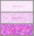 Colored tiled triangle mosaic banner design set vector image