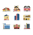 digital blue red city buildings vector image