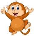 Cute monkey cartoon thumb up vector image vector image