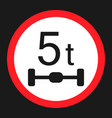 maximum axle load 5 tones sign flat icon vector image