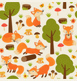 seamless pattern with fox in forest vector image