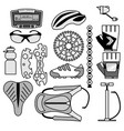 collection of bicycle accessories line-art icons vector image