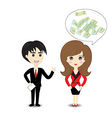 Business man and woman on white background vector image