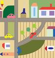 Cartoon city seamless plan - funny design vector image vector image