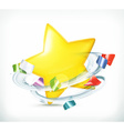 Party star and confetti icon vector image vector image