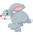 Cartoon happy bunny jumping isolated vector image