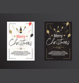 christmas poster in black and white vector image