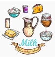 Cow And Nature Milk Color Sketch vector image
