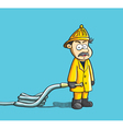 fireman holding the hose vector image