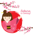 Girl in Kimono with Cherry Blossoms Branch vector image
