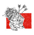 hand drawn aggressive tiger with arrows and tears vector image
