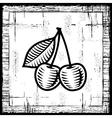 Retro cherry black and white vector image