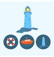 Set icons with boat lifebuoy lighthouse vector image