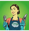 Woman with garden tools in vector image