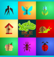 flat spring icons set vector image