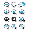Speech bubble blog contact icons set vector image vector image