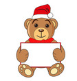 bear with sign hat of santa claus on white vector image