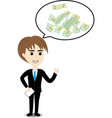 Business man thinking to money vector image