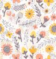 Field flowers doodle pattern vector image