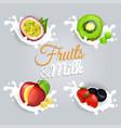 fruit splashing in milk colorful poster vector image