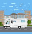 modern camper van in urban landscape vector image