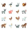 Domestic Animal Flat Icons Set vector image