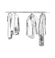 Hand drawn wardrobe sketch Mans dresscode suit vector image