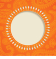 Orange paisley frame vector image
