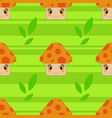 color seamless pattern of cute smiling mushrooms vector image