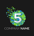 number five logo particles and bubble dots vector image