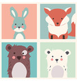 Rabbit fox two bears animal set vector image