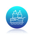 sailing vessel line icon ship pictogram vector image
