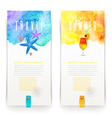 Summer and travel watercolor banners - vector image