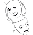two theater masks vector image