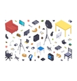 Isometric flat office items vector image