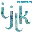 Green-blue watercolor font IJKL vector image vector image