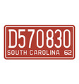 South Carolina 1962 license plate vector image