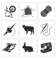 Wool knitting Icons vector image