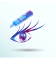 beautiful female blue eye mascara vector image