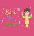 caucasian schoolgirl holding test tube and beaker vector image