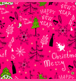 christmas pattern with handwritten inscriptions vector image