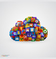cloud with many application icons vector image