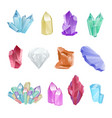 set colored minerals crystals gems diamond vector image