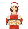 Woman baking christmas cookies vector image