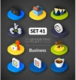 Isometric flat icons set 41 vector image