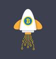 bitcoin rocket ship launching vector image