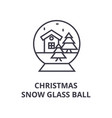 christmas snow glass ball line icon outline sign vector image